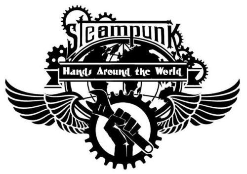 steampunk hands around the world logo